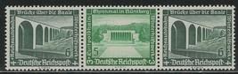 1936 Modern Buildings Strip of 3 Germany Postage Stamps Catalog Mi W122 MNH