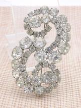 Clear Rhinestone Infinity Large Silver Tone Pin Brooch Vintage Wedding B... - $29.69