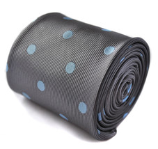 Frederick Thomas grey and light blue polka spot tie FT1418