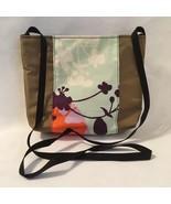 Floral Cross Body Purse Shoulder Bag Green Nylon Cotton Fabric Handmade New Gift - $40.00