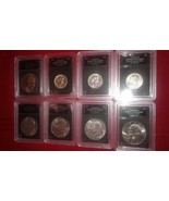 Bradford Exchange The 20th Century 8 Pieces US Silver Dollar Coin Wood D... - $120.00