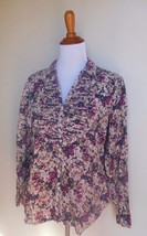 Eddie Bauer ~ Large Floral Button Down Blouse Top - $12.00