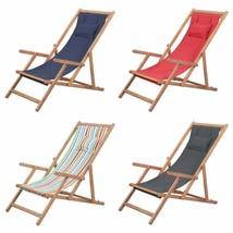 vidaXL Folding Beach Chair Fabric Wood Frame Outdoor Seat Lounge Multi C... - $66.99+