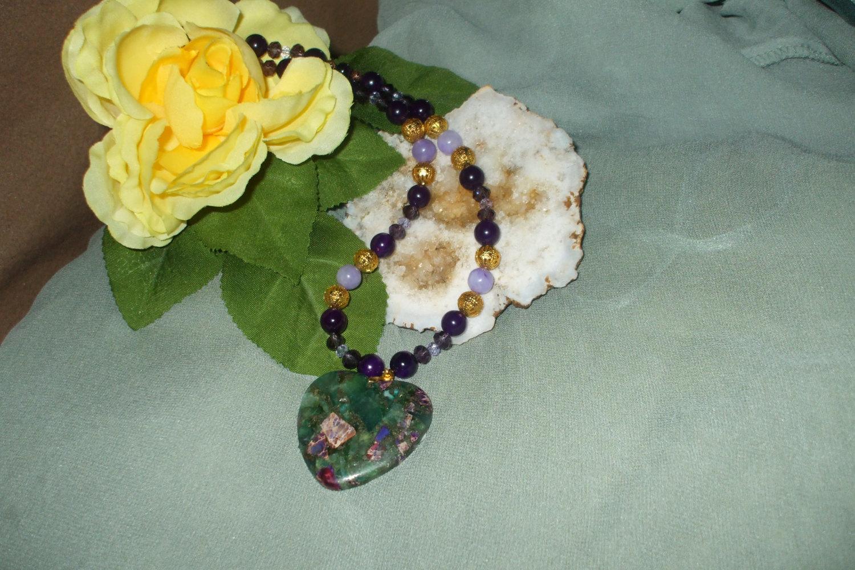Vibrant Flourite Pyrite hanging Heart Pendant necklace