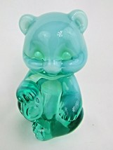 FENTON OPALESCENT SEA MIST GREEN SITTING GLASS TEDDY BEAR MARKED FENTON - $49.49