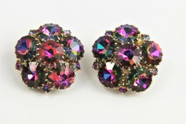 VINTAGE ESTATE Jewelry MADELEINE RAINBOW MULTI COLOR RHINESTONE CLIP EAR... - $40.00