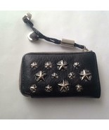Jimmy Choo Black Leather-Silver Star Coin-Key Case 4in x 2.5in - $151.95