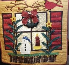 "Christmas Window Tapestry Wreath Buttons Winter Snowman Handmade 28"" x 26""  - $42.99"