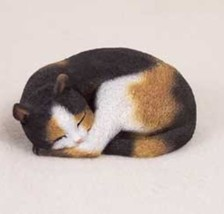 PLEASANT DREAMS CALICO CAT Figurine Statue Hand Painted Resin Gift - $19.50