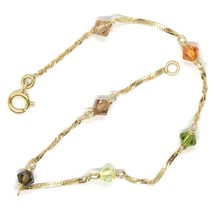 18K YELLOW GOLD BRACELET, ALTERNATE FACETED MULTI COLOR CRYSTALS SINGAPORE CHAIN image 2