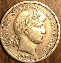 1904 UNITED STATES BARBER SILVER DIME 10 CENTS COIN - $22.75