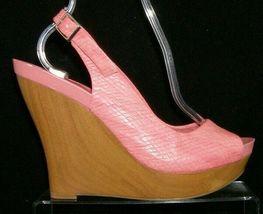 Jessica Simpson 'Genette' pink man made snake print slingback wedges 9.5M image 8