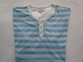 7 Diamonds Crewneck Henley Stripes Short Sleeve Men T-Shirt Aqua XL - $22.53