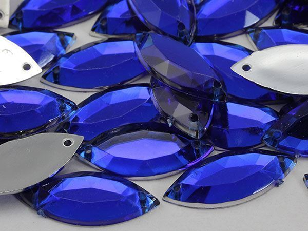 20x9mm Blue Sapphire CH09 Navette Flat Back Sew On Gems For Craft 50 PCS