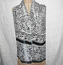 VINTAGE 2 SIDED BLUES GREENS CUT OUT PATTERN VELVET CREPE SCARF EVENING ... - $11.89