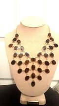 NEW Beautiful Unique Gold colored cascading necklace 34 stones (Tortoise... - $9.64