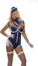 Sexy Blue Mile High Airline Stewardess Cosplay Deluxe C image 2