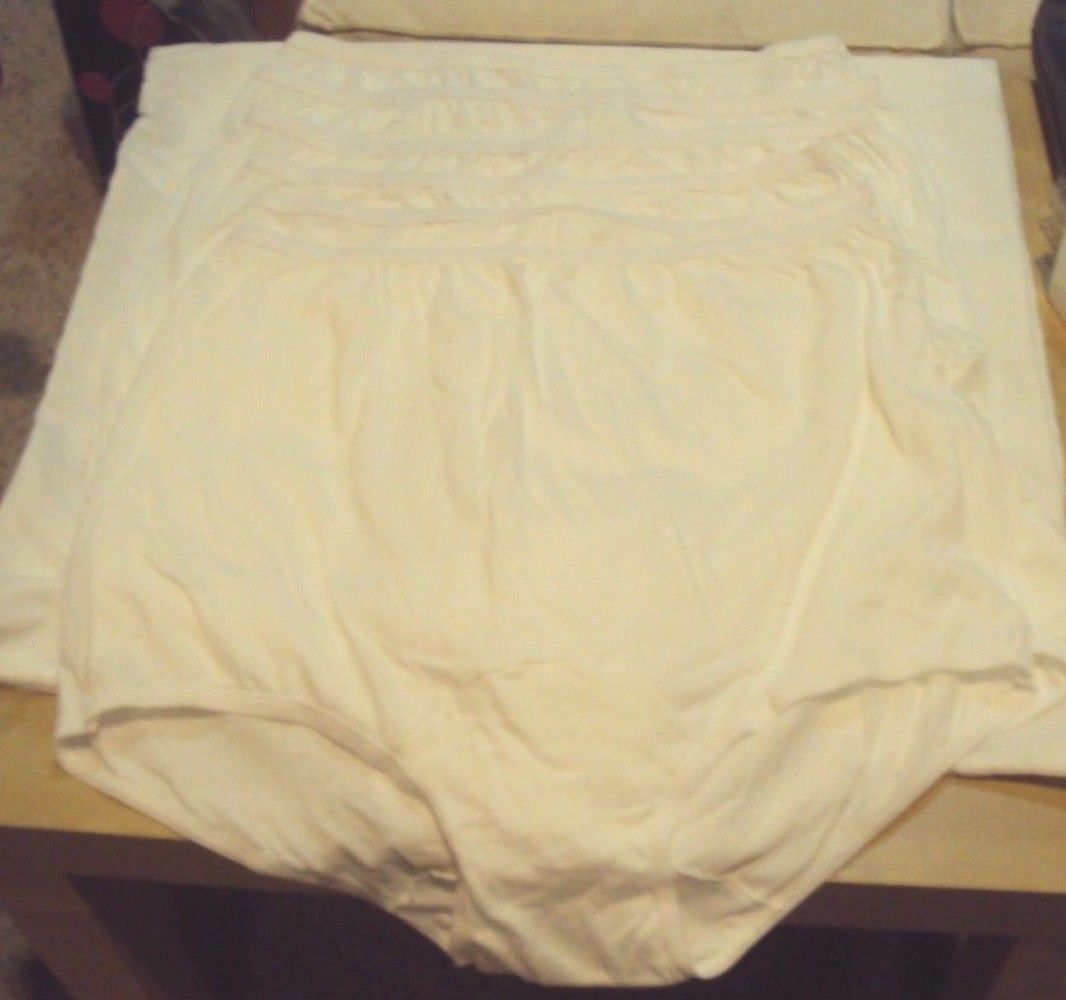 Six Dixie Belle Lingerie Cotton Briefs Size 16 White