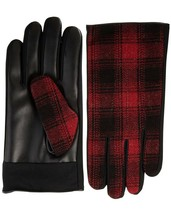 Isotoner Mens Sleek Heat Wool Blend Faux Leather Driving Gloves Red M - $10.48