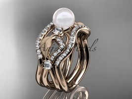 14k rose gold diamond pearl leaf engagement ring with double matching ba... - $2,825.00