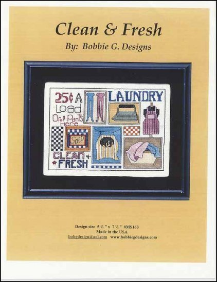 Clean and Fresh laundry room cross stitch chart Bobbie G Designs
