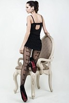 ICONOFLASH Women's Patterned Fishnet Stocking Tights, (Back Seam Bow Ties, Re... - $17.81