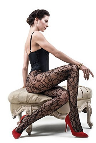 ICONOFLASH Women's Patterned Fishnet Stocking Tights, (Romantic Swirls, Regular) - $17.81