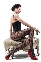 ICONOFLASH Women's Patterned Fishnet Stocking Tights, (Romantic Swirls, ... - $17.81
