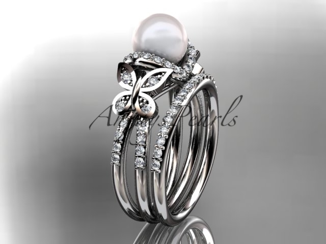 14kt white gold diamond pearl unique engagement set, butterfly wedding ring AP14 - $2,295.00