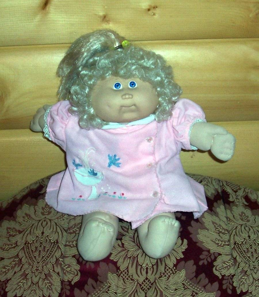 Cabbage Patch Kids Coleco #14 Blonde CS Pony Orphan in Vintage Pink Coat-Dress - $10.99