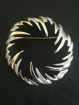 Sarah Coventry Fire N Ice Brooch Pin Modernist Design Signed Gold Silver Tone - $13.49