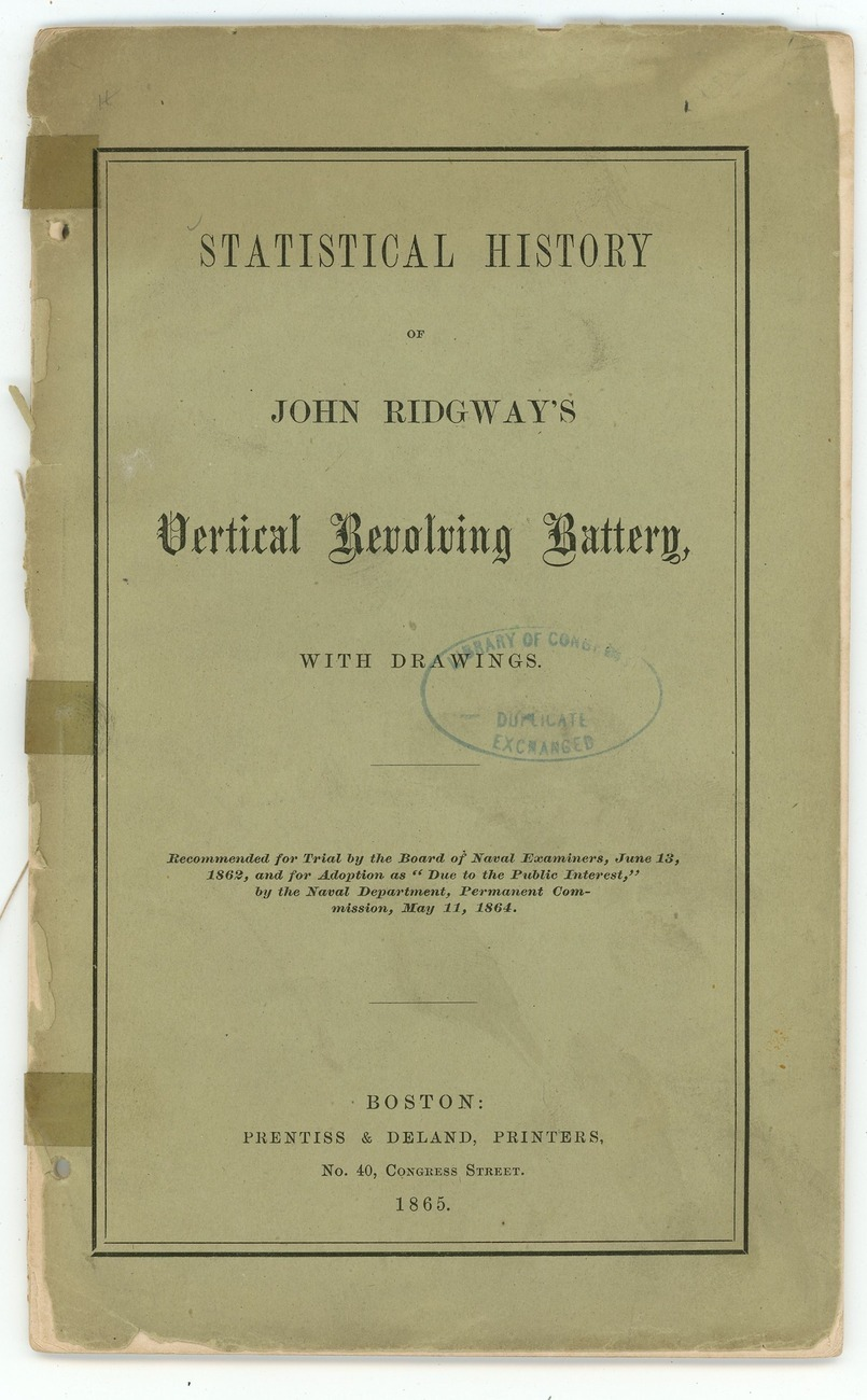 Statistical history Ridgway's Vertical Revolving Battery 1865 book arty US Navy