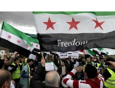 """""""3 STAR"""" SYRIAN FREEDOM FLAG syria front army high negotiations committee"""