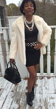 Designer Classy blonde soft white Mink Fur coat jacket Stroller Bolero S-M 0-6/8 - $699.99