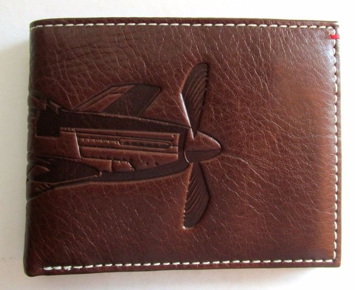 FOSSIL L-ZIP WALLET Men's Billfold ~ THE BRAT III Airplane ~ Brown Leather ~ NWT