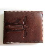 FOSSIL L-ZIP WALLET Men's Billfold ~ THE BRAT III Airplane ~ Brown Leather ~ NWT - $44.95