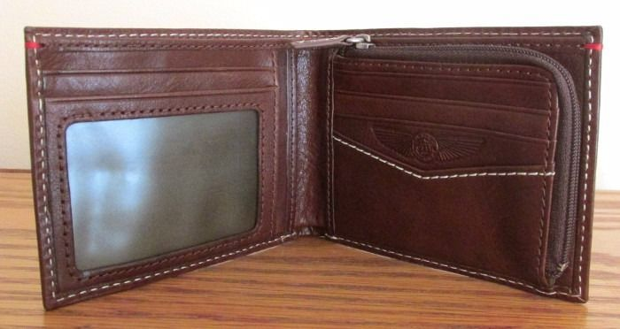 FOSSIL L-ZIP WALLET Men's Billfold ~ THE BRAT III Airplane ~ Brown Leather ~ NWT image 2