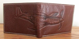 FOSSIL L-ZIP WALLET Men's Billfold ~ THE BRAT III Airplane ~ Brown Leather ~ NWT image 3