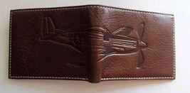 FOSSIL L-ZIP WALLET Men's Billfold ~ THE BRAT III Airplane ~ Brown Leather ~ NWT image 4