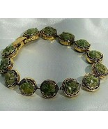 "Mosaic Green Chipped Stones Inlaid Goldtone Vintage 7"" Bracelet - $18.80"