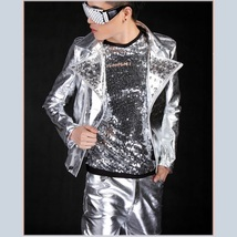 Flash Liquid Silver Hot Motorcycle Asymmetrical Front Zip Up Rivet Collar Jacket