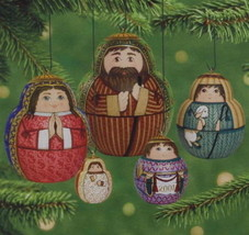 Hallmark 2001 NIB Nesting Nativity Creche Pressed Tin Set of 5 Ornaments - $37.95