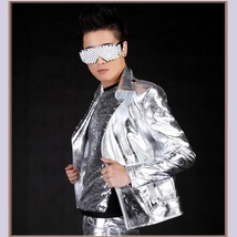 Flash Liquid Silver Hot Motorcycle Asymmetrical Front Zip Up Rivet Collar Jacket image 2