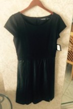 Nwt Ellen Tracy Black Dress W Pleather Lattice Cut Skirt Sz Us 10 Retail... - $98.01