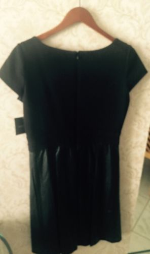 Nwt Ellen Tracy Black Dress W Pleather Lattice Cut Skirt Sz Us 10 Retail $128