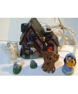 Illuminated Ceramic  Halloween Haunted House with Ghosts Figurines & Props - $12.00