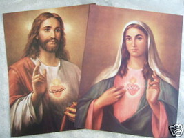 "Catholic Picture Print SET Sacred Heart Jesus & Mary Large 11x14"" ready to frame - $24.78"