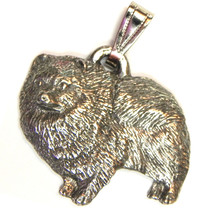 Pomeranian Pendant Dog Harris Fine Pewter Made in USA jewelry - $10.99