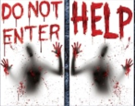 Giant Bloody-HELP-DO NOT ENTER-Window Wall Posters Halloween Decorations... - $7.89