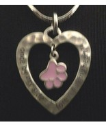 """GNZ LOVE MY PET pink paw framed in silver heart on 18-21"""" necklace in gi... - $3.95"""